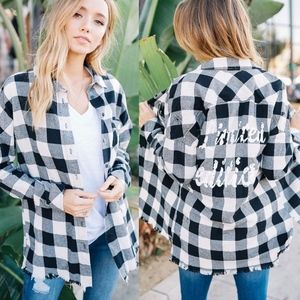TOMMY Classic Plaid Flannel Top _ BLACK